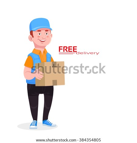 Smiling young male postal delivery courier delivering package, Character isolated on white background, vector illustration - stock vector