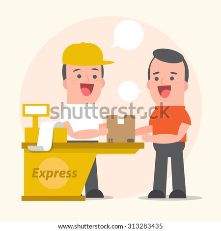 Smiling young man postal delivery service with customers - white speech bubbles - Vector Illustration - stock vector