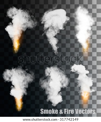 Smoke and fire vectors on transparent background. - stock vector