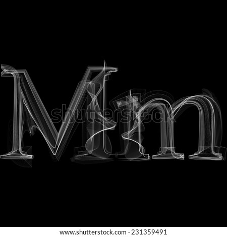 Smoke font. Letter M. Vector illustration alphabet - stock vector