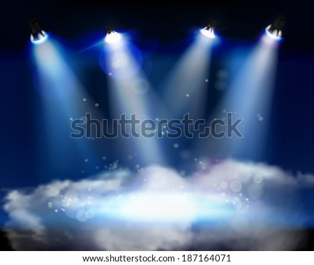 Smoke on the stage. Vector illustration. - stock vector