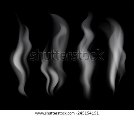 Smoke set on black background vector illustration  - stock vector