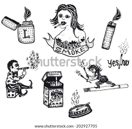 Smoke Tobacco Drugs and Cigarettes Set/ Illustration of a set of doodle hand drawn Smoke Tobacco Drugs and Cigarettes elements - stock vector