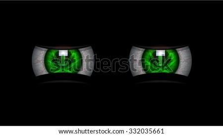 Smoke Weed Marijuana Green Eyes / Red Eyes - stock vector