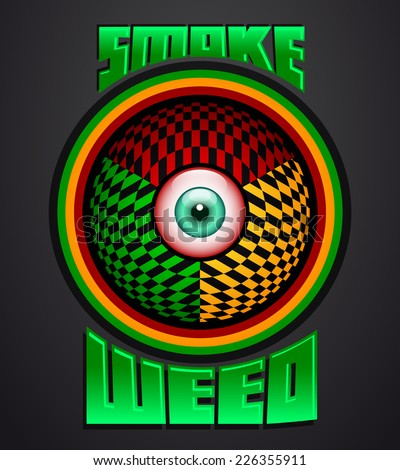 Smoke weed, rasta red eye icon - emblem - weed is another name for marijuana - stock vector