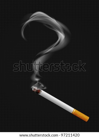 Smoke with a question mark. Smoking a cigarette. Social illustration. Vector. Part of set. - stock vector