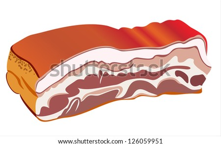 smoked lard on white background - stock vector