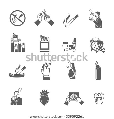 Smoking addiction black icons set with cigarettes pack lighter and smokers isolated vector illustration - stock vector