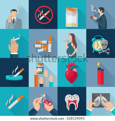 Smoking addiction flat long shadow icons set isolated vector illustration - stock vector