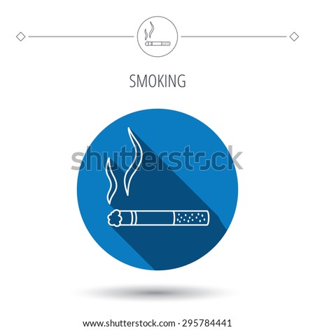 Smoking allowed icon. Yes smoke sign. Blue flat circle button. Linear icon with shadow. Vector - stock vector