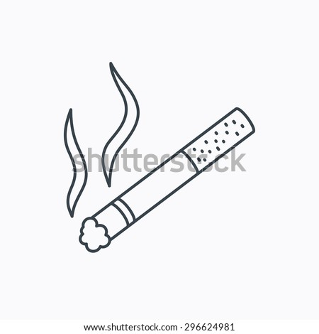 Smoking allowed icon. Yes smoke sign. Linear outline icon on white background. Vector - stock vector
