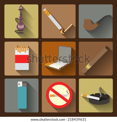Smoking and accessories icons set. Vector illustration - stock vector