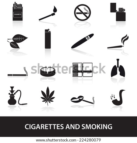 smoking and cigarettes simple black icons set eps10 - stock vector