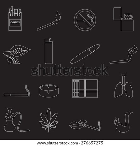 smoking and cigarettes simple outline icons set eps10 - stock vector