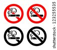 Smoking area set symbols, not allowed sign - stock photo