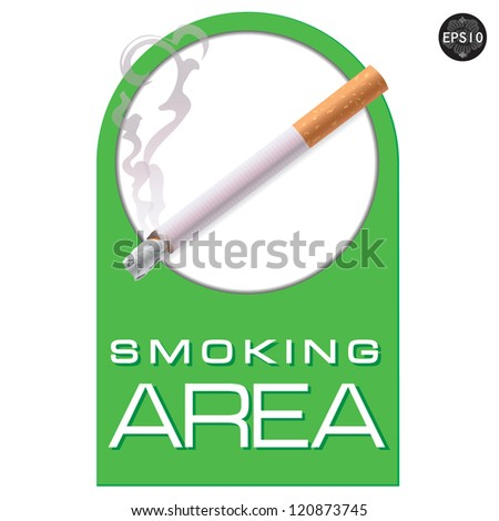 Smoking area sign on white background, Vector - stock vector