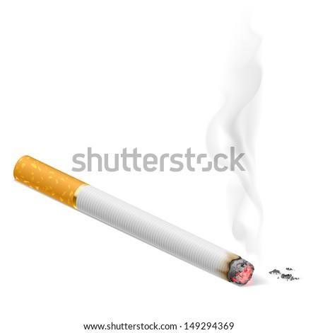 Smoking cigarette.  Illustration on white background for design. - stock vector