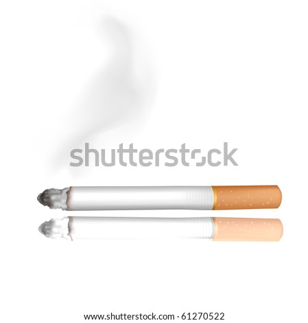 Smoking cigarette. Isolated on black. Closeup. - stock vector