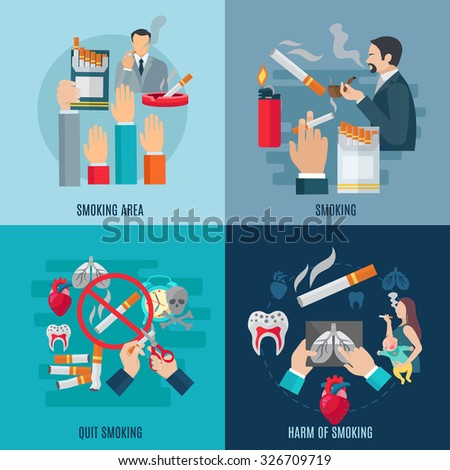 Smoking design concept set with harm and danger flat icons isolated vector illustration - stock vector