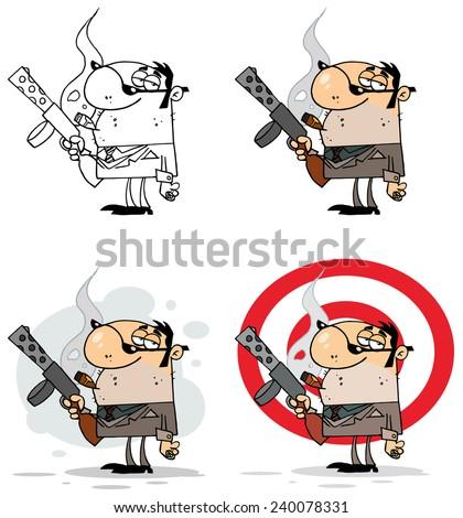 Smoking Gangster Holding A Submachine Gun. Vector Collection Set - stock vector