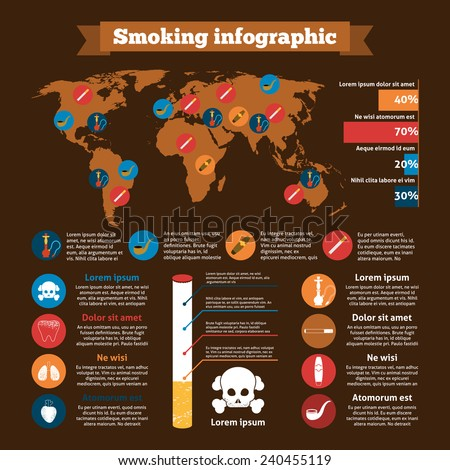 Smoking infographics set with addiction design elements charts and world map vector illustration - stock vector