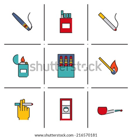 Smoking Isolated line icons set modern trendy vector illustration - stock vector