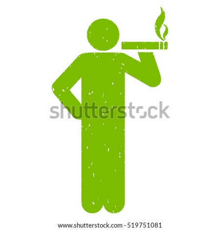 Smoking Man grainy textured eco green icon for overlay watermark stamps. Flat symbol with dirty texture. Dotted vector ink rubber seal stamp with grunge design on a white background.