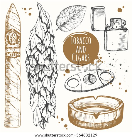 Smoking set. Bunch of tobacco and cigars in sketch style. Vector illustration with ashtray, cigar, tobacco, lighter. Classical smoking set. - stock vector