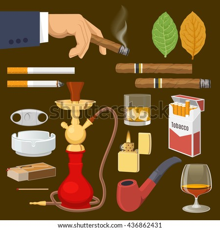 Smoking tobacco decorative icons set with cigarettes hookah cigars alcohol lighter on brown background isolated vector illustration - stock vector