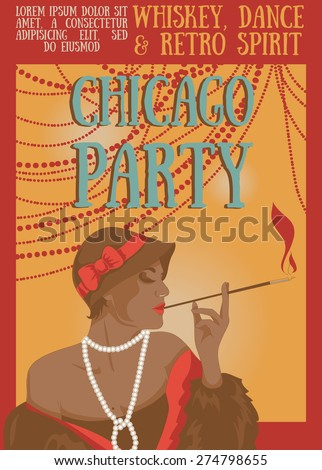 Smoking woman in retro style on Chicago party poster, vector illustration - stock vector