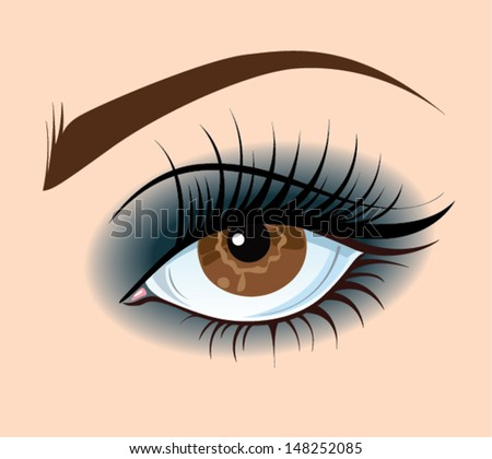 Smoky eye. Brown eye make up. Vector illustration.  - stock vector
