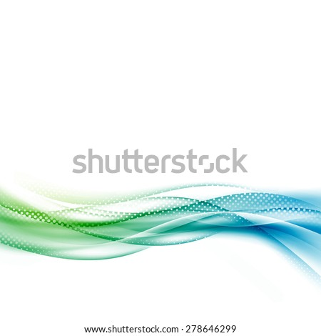 Smooth Abstract halftone wave modern layout with transparent fresh green blue swoosh dotted line. Vector illustration - stock vector