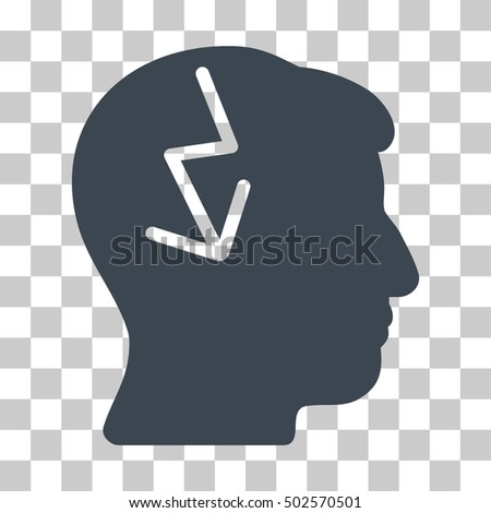 Smooth Blue Brain Electric Strike toolbar pictogram. Vector pictograph style is a flat symbol on chess transparent background.