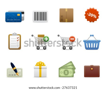 smooth series > shopping icons - stock vector