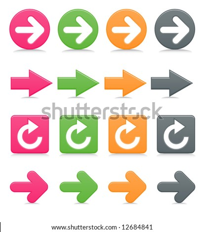 Smooth-style web arrows in bright colors with drop shadows - stock vector