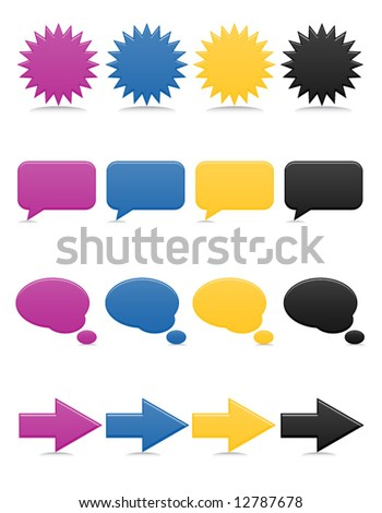 Smooth-style web icons in bright colors; includes speech and though bubbles - stock vector