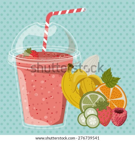 Smoothie design over pointed background, vector illustration - stock vector