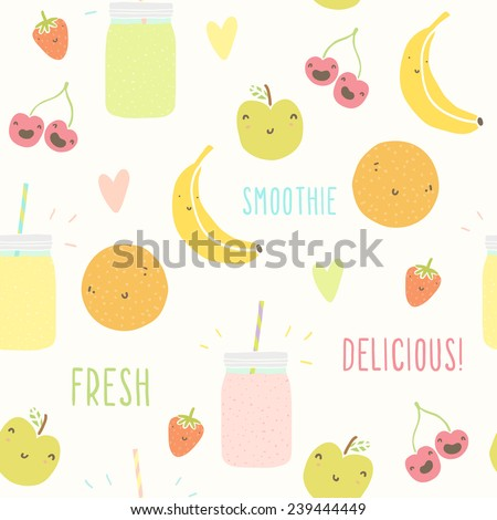 Smoothie pattern with funny fruits. Vector hand drawn illustration - stock vector