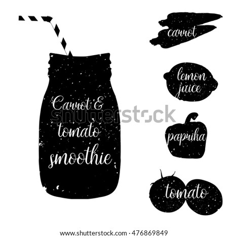 smoothie recipe vector illustration black white stock vector 476921623 shutterstock. Black Bedroom Furniture Sets. Home Design Ideas