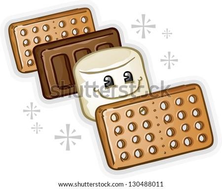 Smores Marshmallow Cartoon Character - stock vector