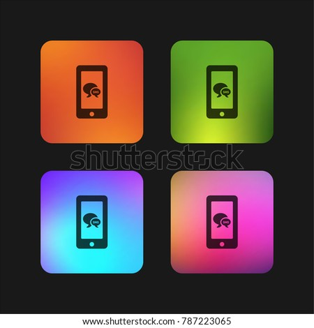 Sms bubbles symbol on phone screen four color gradient app icon design