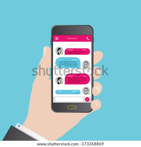 Sms messenger. Speech bubbles. Phone chat interface. Vector illustration - stock vector