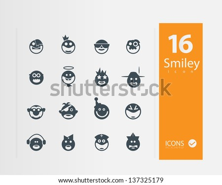 smyley icons (set of 16 Quality icons ) - stock vector