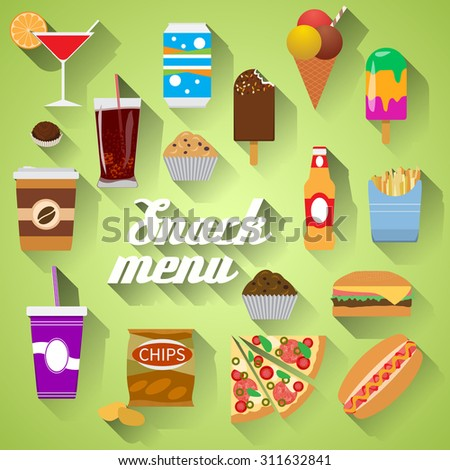 Snack Menu Flat design modern vector illustration of food, drink, coffee, hamburger, pizza, beer, cocktail, fastfood, cola, ice cream, potato chips, candy icons with long shadow. - stock vector