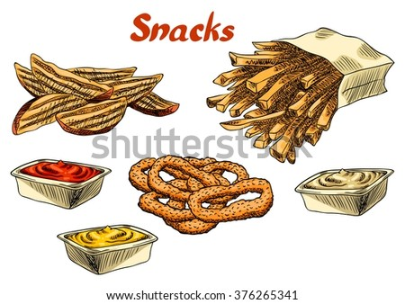 French Fries Potato Wedges Onion Rings And A Sauce Isolated With