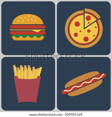 Snacks icon set. Cheeseburger with salad leaves, ham and sesame seeds. Pizza slice. French Fries Packet. Hot Dog. Fast food Digital vector flat illustration