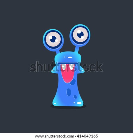 Snai-like Alien Monster Cute Childish Flat Vector Bright Color Drawing Isolated On Dark Background - stock vector