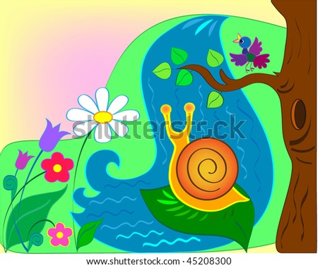 Snail against falls and a glade of colors - stock vector
