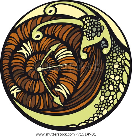 Snail and the time.  Snail moves so slowly... And it seems, that time is stopped. - stock vector