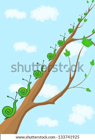 snail crawling up the branch.spring awakening - stock vector